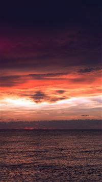 Sunset Lake Sea Water Sky Cloud Nature Flare Blue iPhone 6(s)~8(s) wallpaper