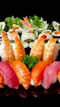 Rolls Sushi Plate A Lot Seafood iPhone 6 wallpaper
