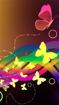 Patterns Waves Butterfly Colorful iPhone 6(s)~8(s) wallpaper