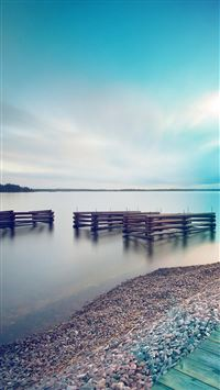 Lake Calm Nature Beautiful Sea Water Blue Flare iPhone 6(s)~8(s) wallpaper