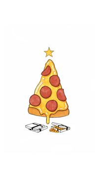 Pizza Christmas Tree Presents iPhone 6(s)~8(s) wallpaper