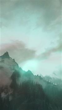 Foggy Mountain Sunshine Nature Green iPhone 6(s)~8(s) wallpaper