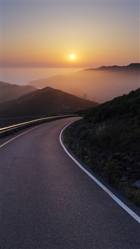 Conzelman Road Sunset Turning Road Sea iPhone 6(s)~8(s) wallpaper