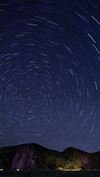 Sky Star Round Night Blue Dark Nature Mountain iPhone 7 wallpaper