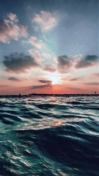 Sunset Sea Sky Ocean Summer Blue Water Nature iPhone 6(s)~8(s) wallpaper