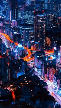 Pastel City Blue Red Night Nature iPhone wallpaper