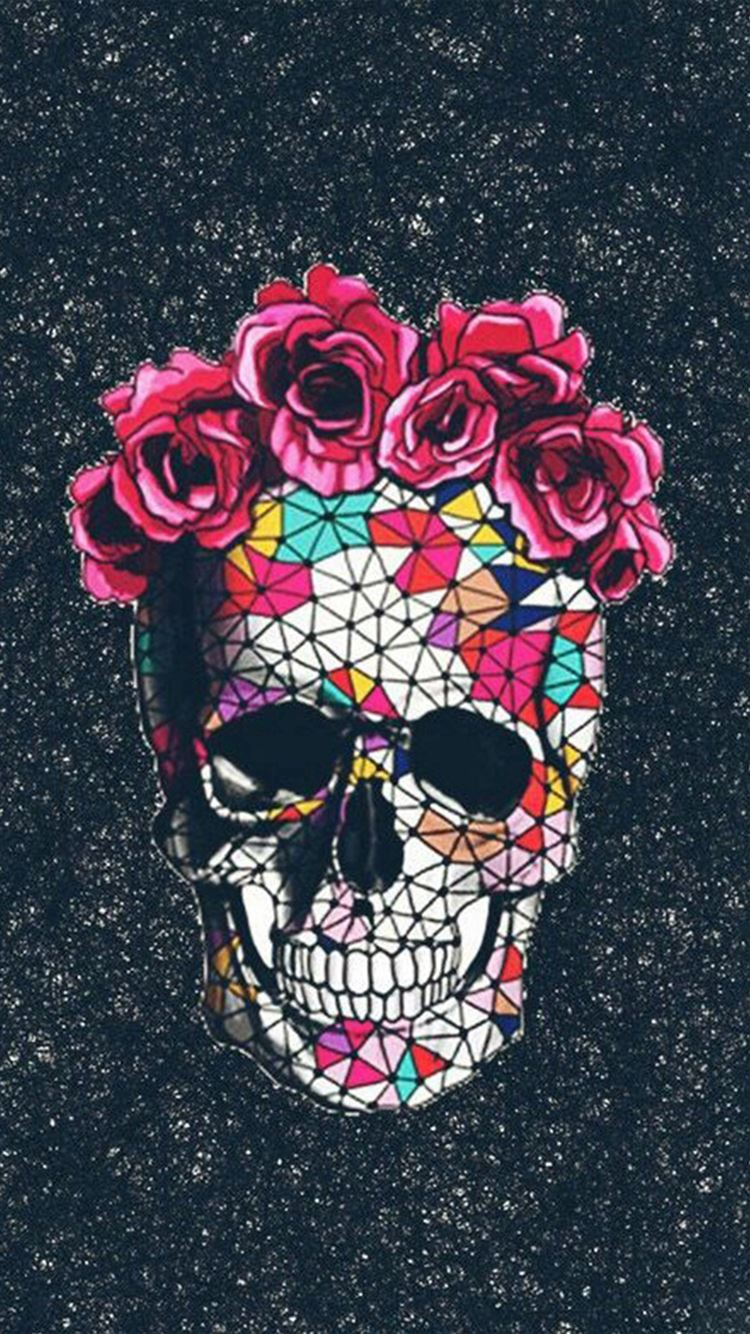 Colorful Skull Roses Space Iphone 8 Wallpapers Free Download