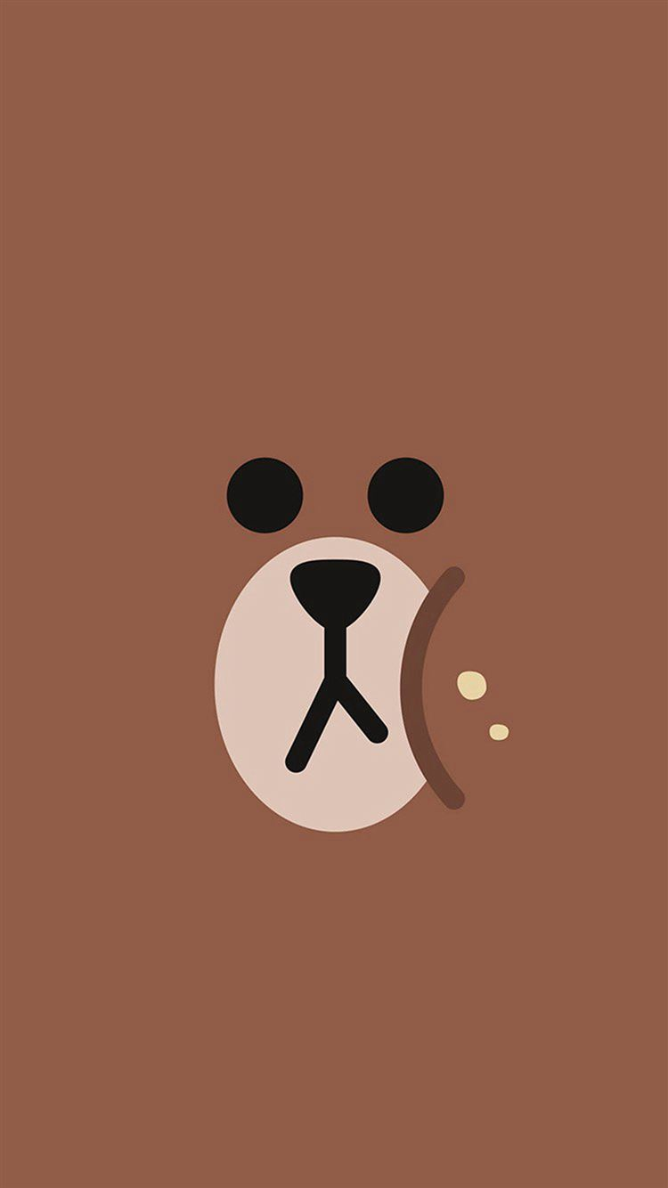line charactor cute brown bear face ilustration art iphone 8