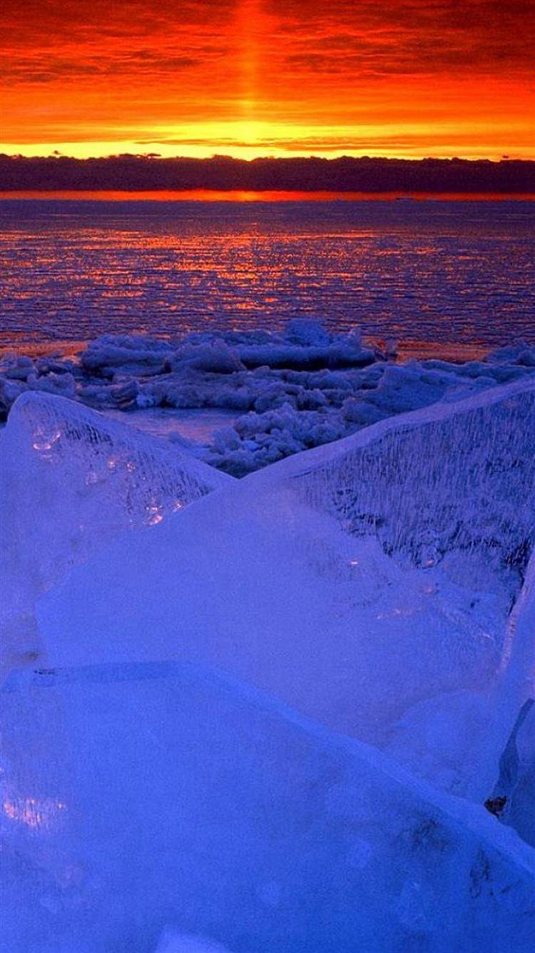 Nature Ocean Sunset Iceberg Glacier Landscape Iphone 8