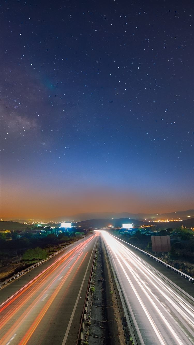 Starry Sky Night Road Traffic Iphone 8 Wallpapers Free Download