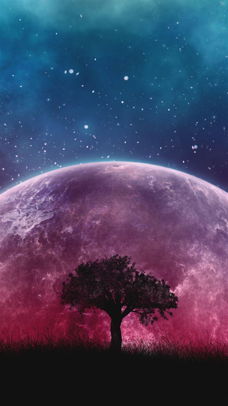 Tree planet stars galaxy art iphone 8 wallpaper ilikewallpaper com