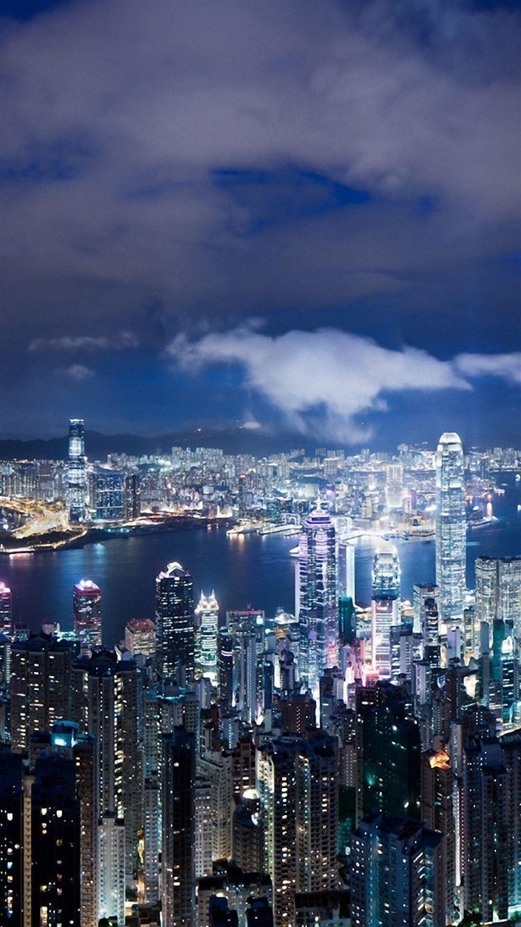 Hong Kong China Night Metropolis Skyscrapers Lights Iphone 8