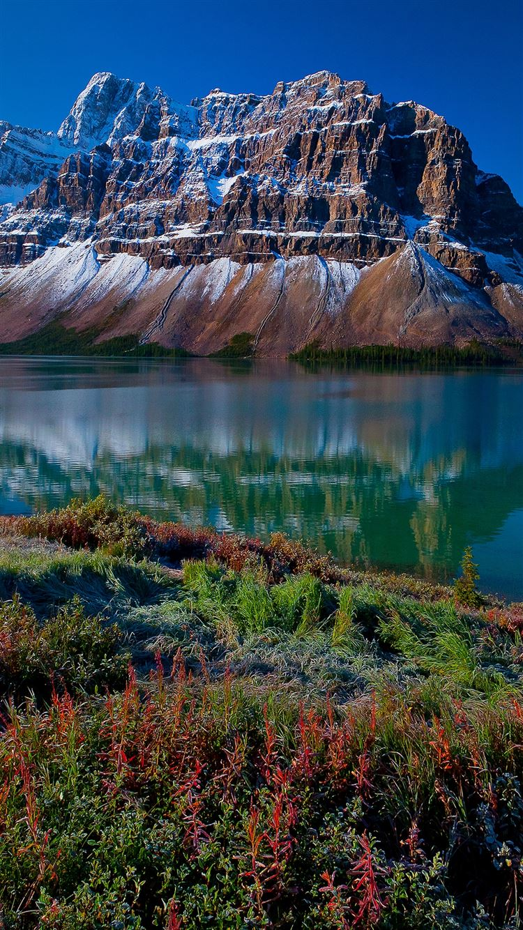 Mountains river grass beautiful landscape iPhone 8 wallpaper