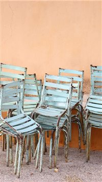 Stacked chairs in Greece iPhone 6(s)~8(s) wallpaper