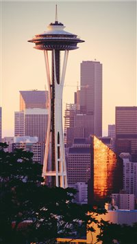 SpaceNeedle in the Morning iPhone 6(s)~8(s) wallpaper