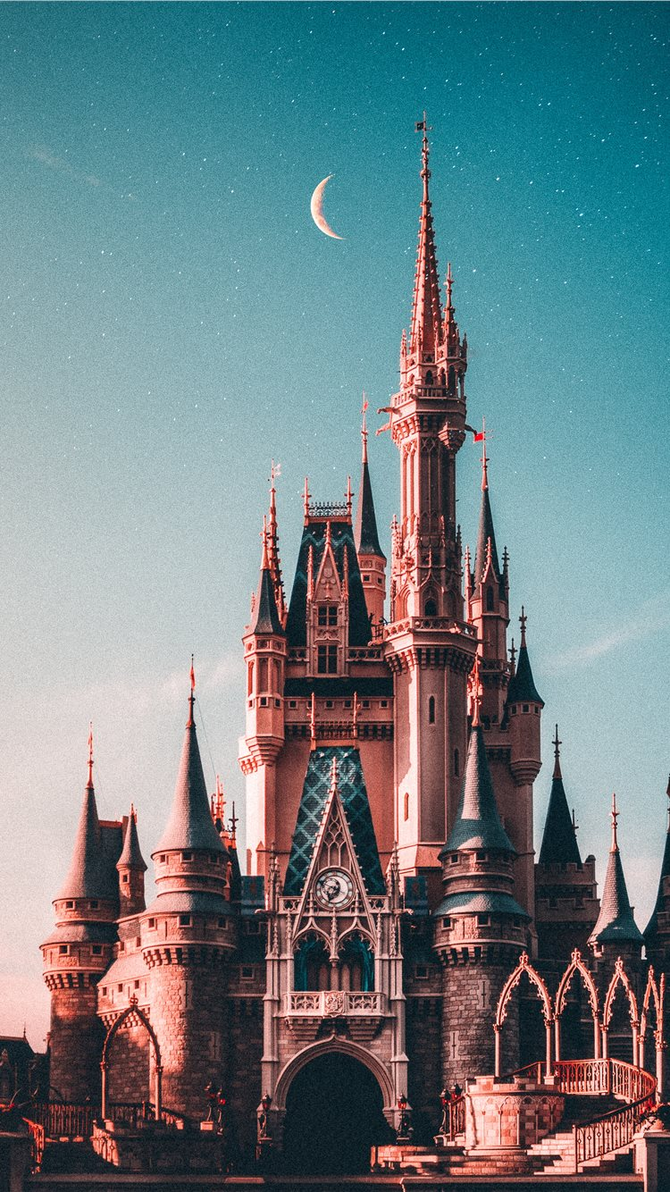 Blue And Beige Disneyland Castle Iphone 8 Wallpapers Free Download