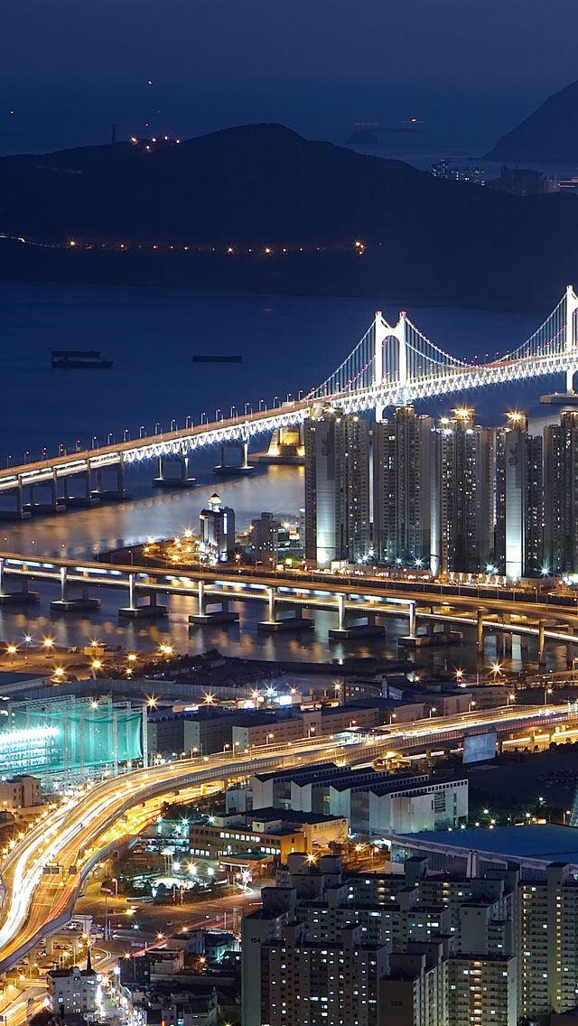 Gwangan Bridge Busan South Korea Iphone Se Wallpaper Download