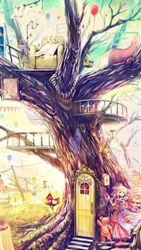 Painting Girl Animal Tree iPhone 5(s/c)~se wallpaper
