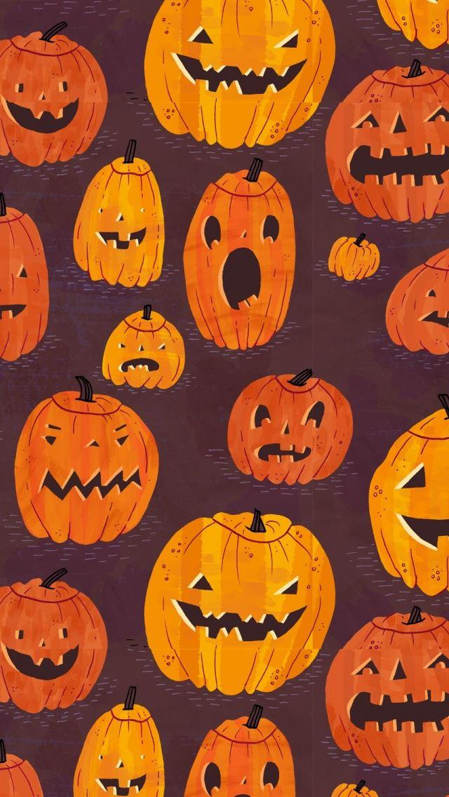Halloween Pumpkins Pattern IPhone Se Wallpaper