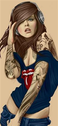 Illustrated Tattooed Sexy Rolling Stones iPhone 5(s/c)~se wallpaper