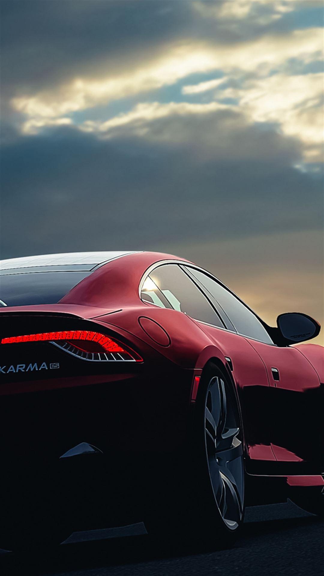 Fisker Karma Car Sunset Night Sky Red Iphone Se Wallpaper Download