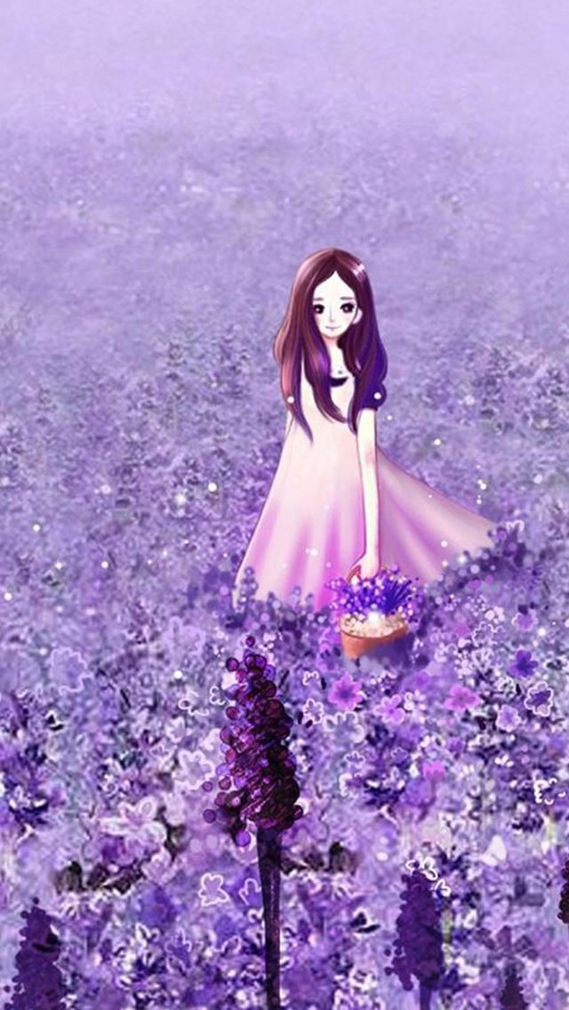 Anime cute girl purple flower garden iphone se wallpaper - Kawaii anime iphone wallpaper ...