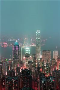 Nature Hongkong Cityscape Skyline Night Live Scene iPhone 5(s/c)~se wallpaper