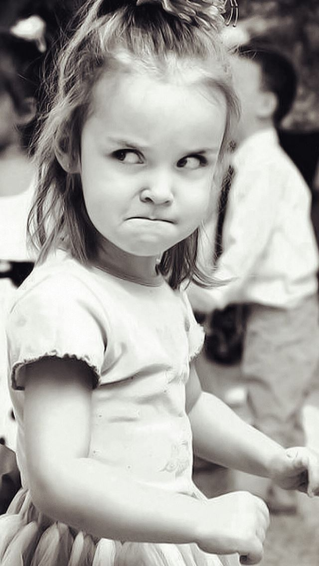 Cute Angry Girl Expression Black And White IPhone Se Wallpaper