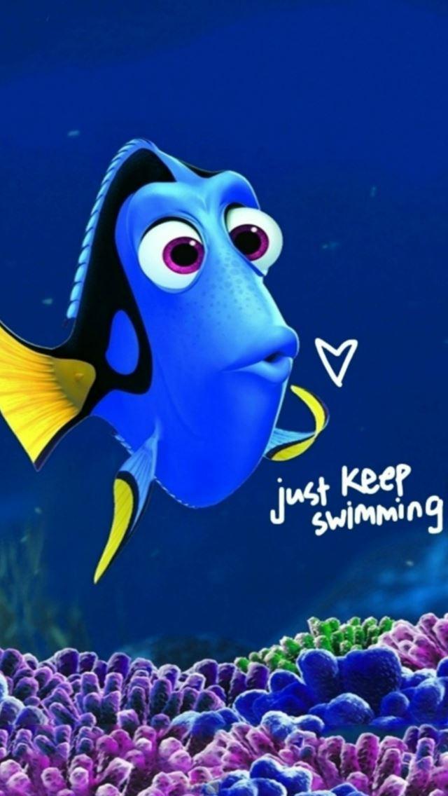 Fun Cartoon Fish Just Keep Swimming IPhone Se Wallpaper