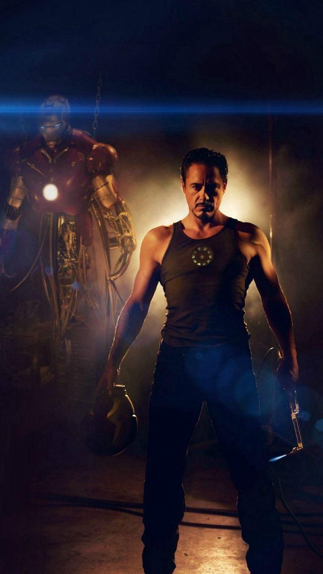 Ironman Avengers Art Robert Downey Film Flare Iphone Se Wallpaper