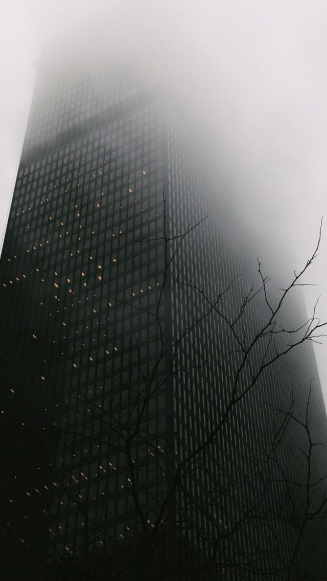 Skyscraper Covered In Fog iPhone se wallpaper