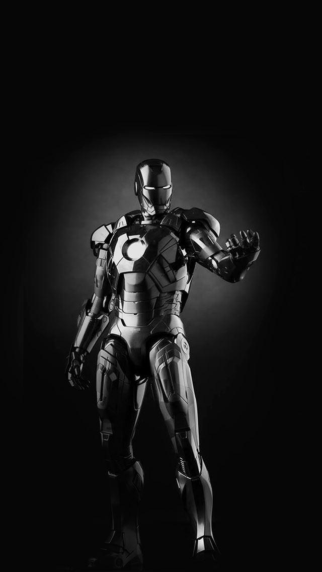 ironman dark figure hero art avengers bw iphone se wallpaper