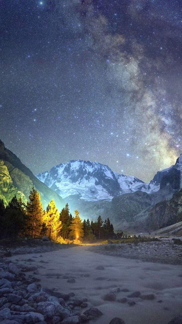Night mountains shiny sky view pine trees iphone se - Pine tree wallpaper iphone ...