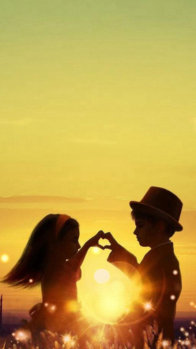 Sunset Love Cute Kids Couple Sunlight Flowers Field IPhone Se Wallpaper