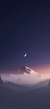 Stars And Moon Winter Mountain Landscape iPhone 5(s/c)~se wallpaper