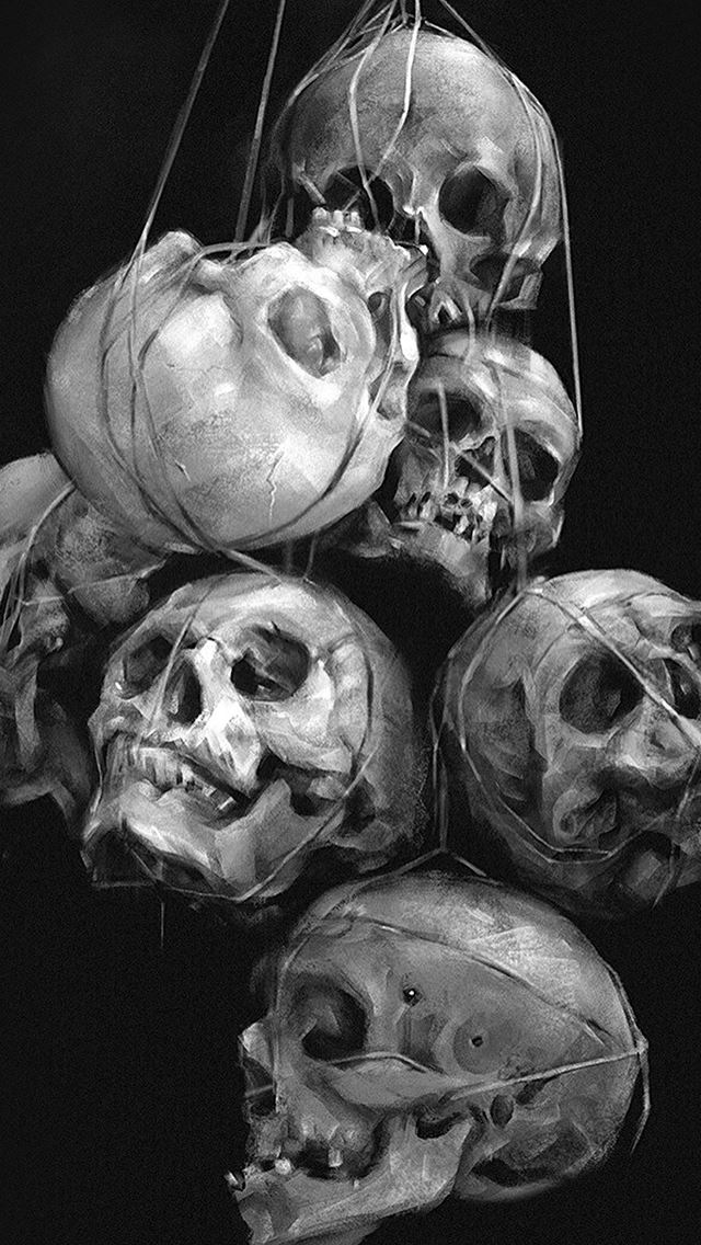 Paint Skull Dark IPhone Se Wallpaper