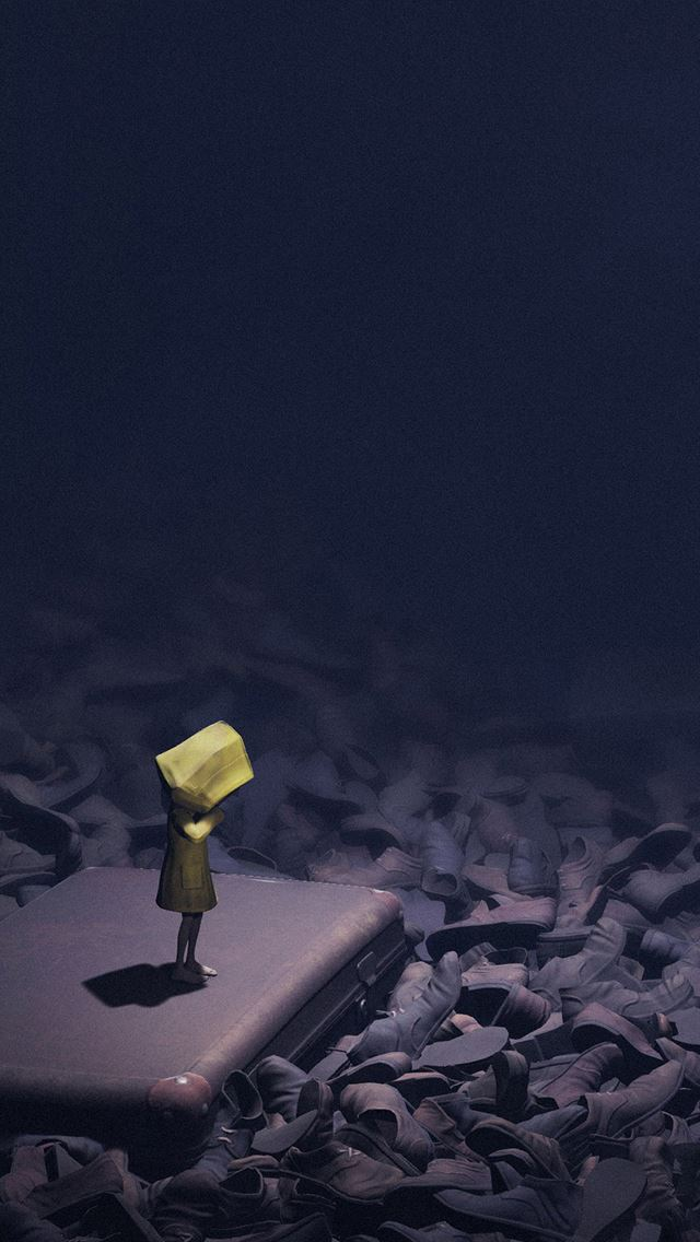 Little nightmares dark anime art illustration iPhone se wallpaper
