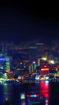 Hongkong night cityscapes lights iPhone 5(s/c)~se wallpaper
