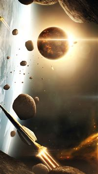 Spaceships Asteroids iPhone 5(s/c)~se wallpaper