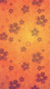 Retro orange flowers iPhone 5(s/c)~se wallpaper
