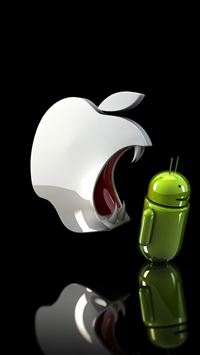 Apple Ready To Eat Android iPhone 5(s/c)~se wallpaper