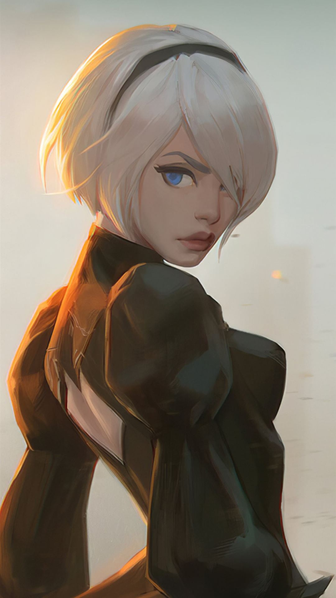 fan art of 2b from nier iPhone SE wallpaper