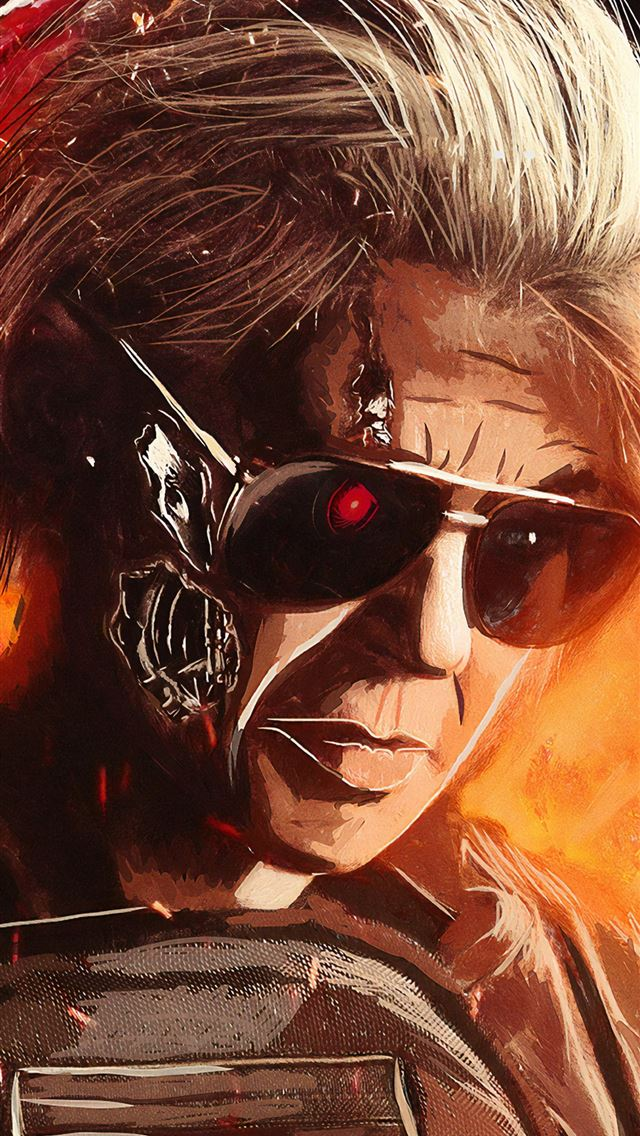 linda hamilton in terminator dark fate artwork iPhone wallpaper