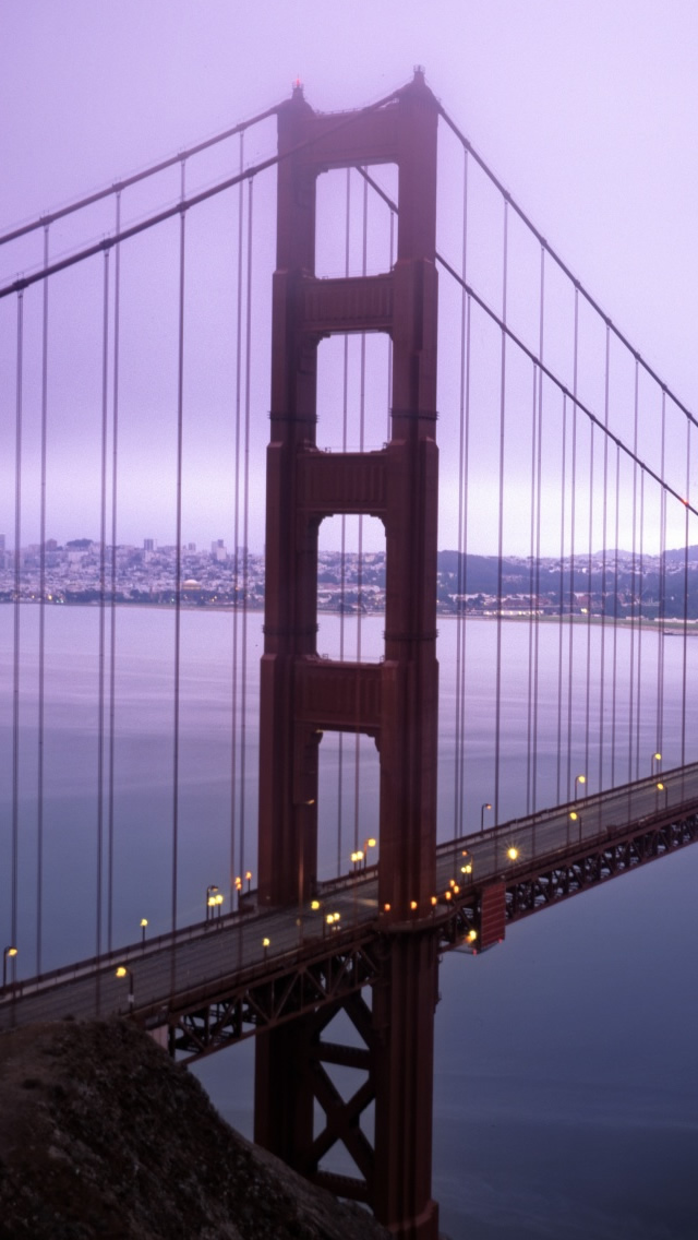 Violet Hour And Fog Surround The Golden Gate iPhone wallpaper