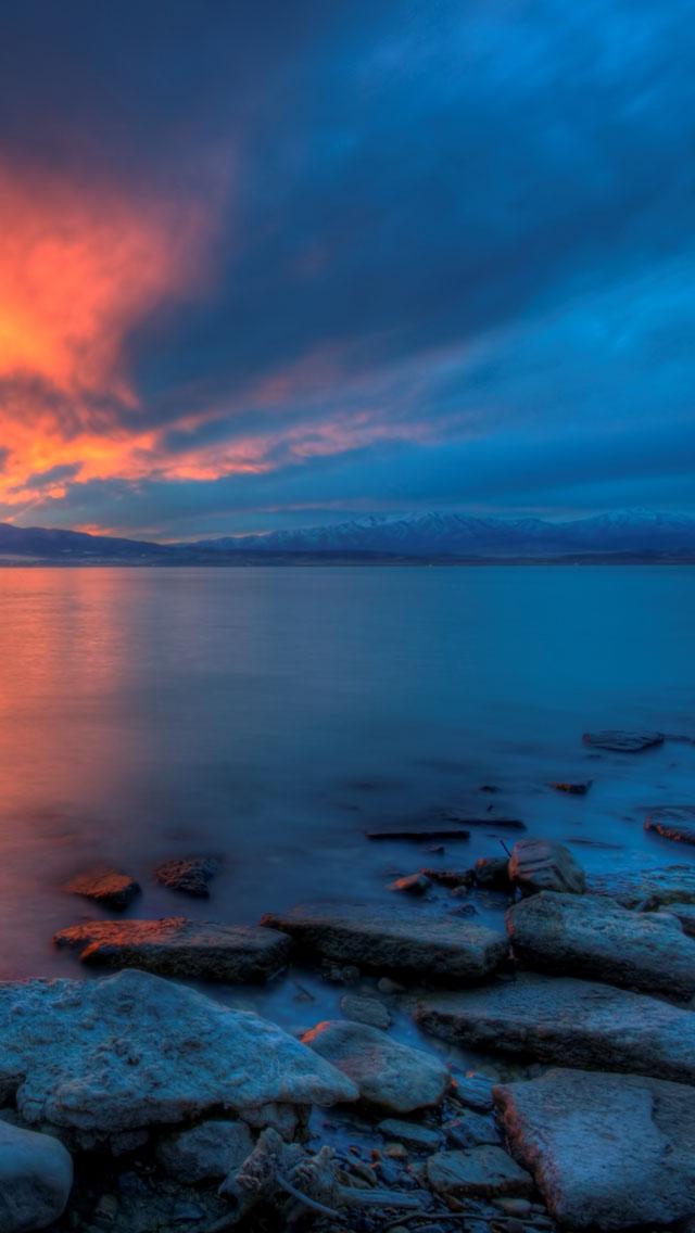 Utah Lake Sunset iphone wallpaper ilikewallpaper com