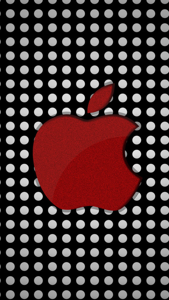 Red Apple Logo On Polka Dots Iphone Wallpapers Free Download
