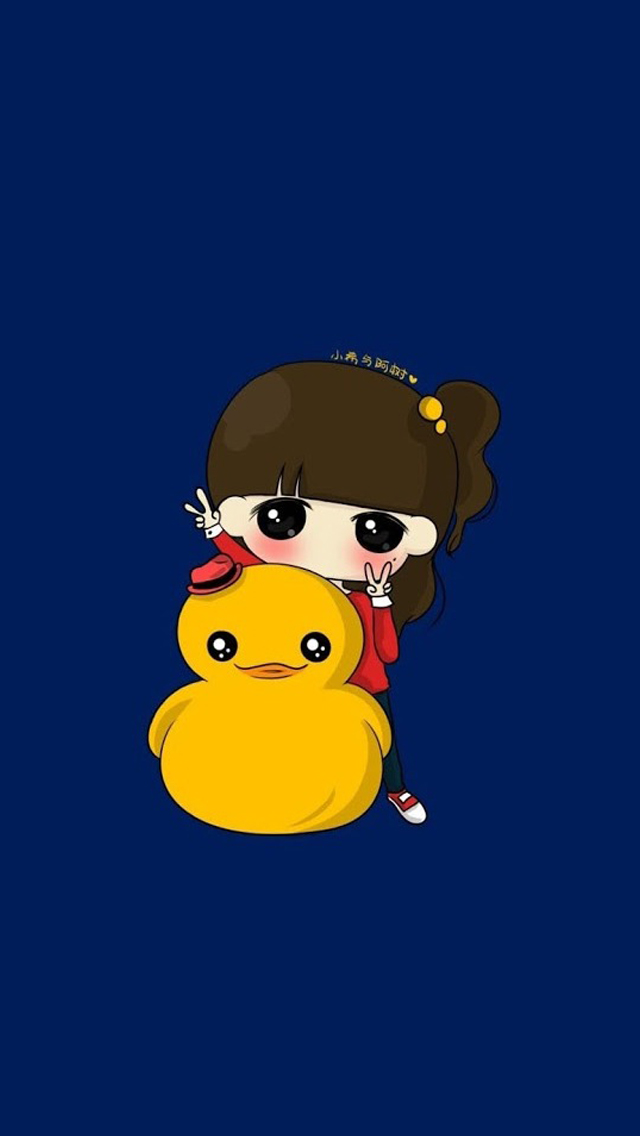 Cute girl with small yellow duck iPhone wallpaper