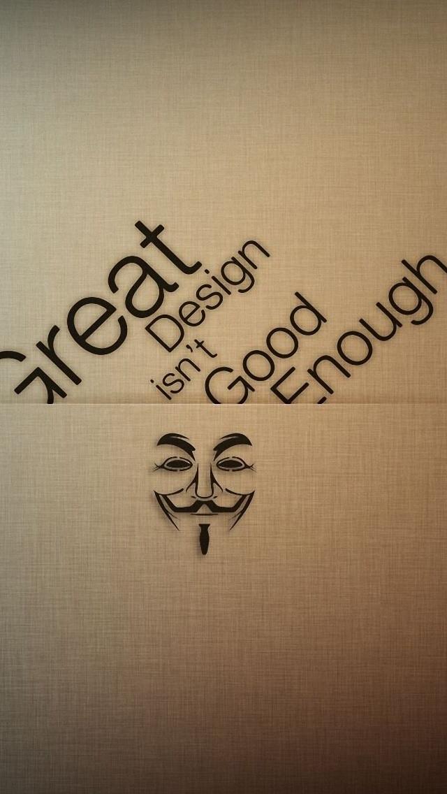 Anonymous Design Typography iPhone wallpaper