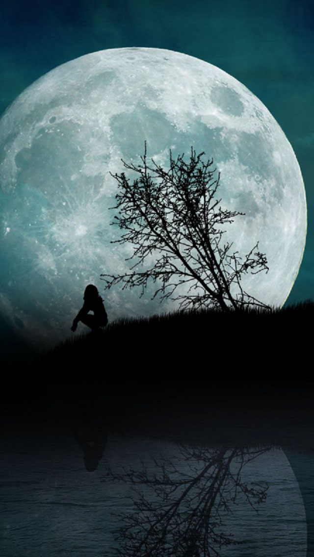 Girl Moon Night Water iPhone wallpaper