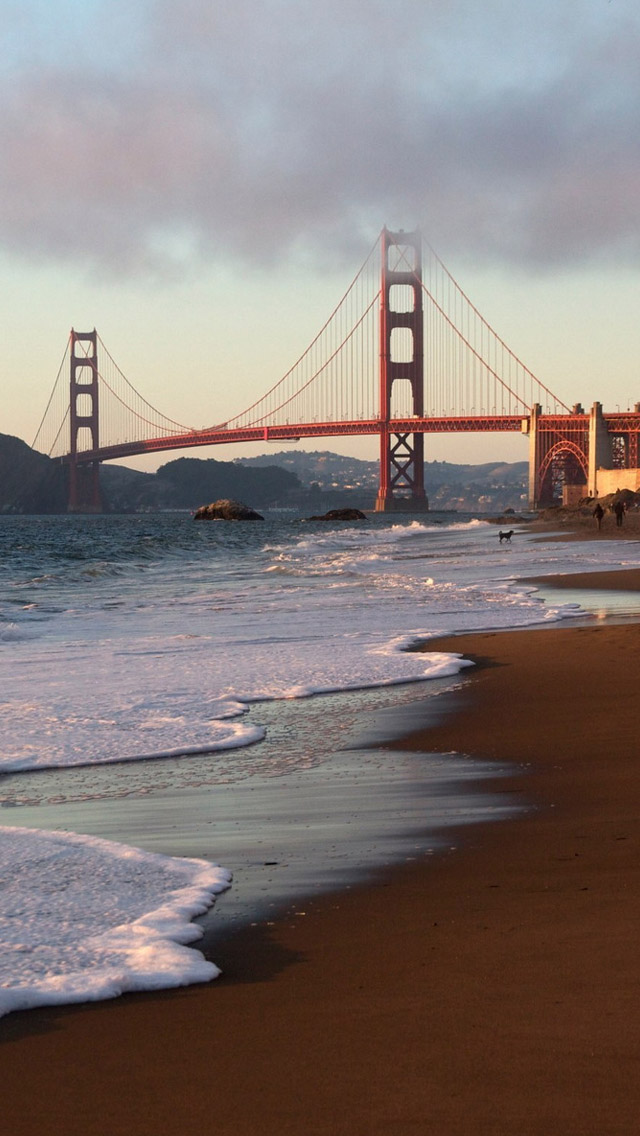 San Francisco Bridge Beach iPhone wallpaper